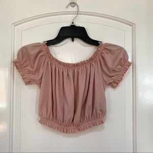 H&M Divided Off the Shoulder Peachy Pink Short Sleeves Crop Top Size XS